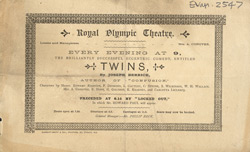 Advert for the Royal Olympic Theatre